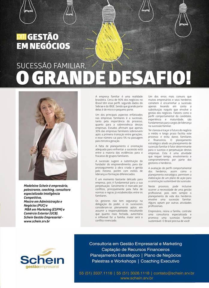Revista Perfil_201509_Schein Gestão Empresarial_Sucessão Familiar
