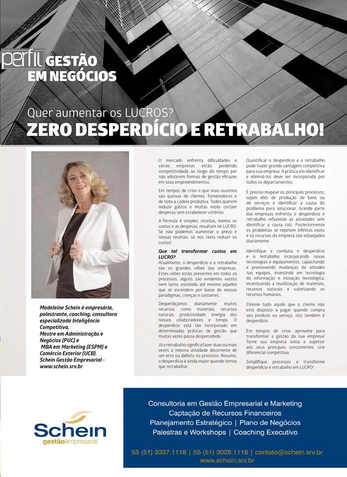 Revista Perfil_201510_Schein Gestão Empresarial_ZERO DESPERDÍCIO E RETRABALHOr
